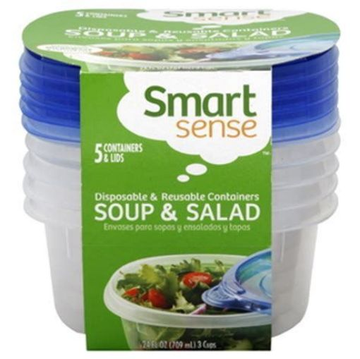 Picture of Home Sense 3 Cup Disposable Food Container - 5 Pack With Lids