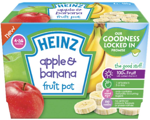 Picture of Heinz Apple & Banana Fruit Pot (100 -packs)