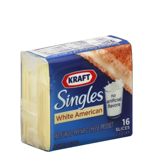 Picture of Kraft White American Singles Cheese (16 Slices) - 12 oz/340 g