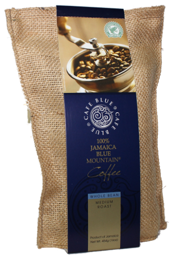 Picture of Jamaican Blue Mountain Coffee Whole Bean Medium Roast Cafe Blue (454 g/ 16 oz)